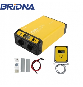 China 1500w 12v 24v dc to ac 230v 1500 watt pure sine wave off grid power inverter with dual EU socket factory